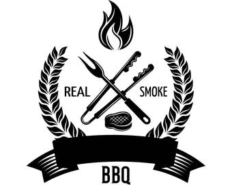 BBQ Logo #17 Grill Grilling Tongs Meat Steak Barbecue Butcher Cooking Cook Out Chef Food Restaurant.SVG .EPS Vector Cricut Cut Cutting File