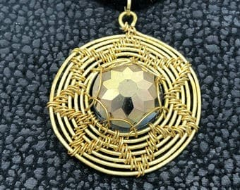 Spiral gold & purple copper wire wrapped Sun mandala pendant. Sunlight Round Crystal Bead Necklace.Star Double Sided  Wire Weaved pendant.
