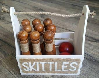 Skittles Set - Shabby White   Bowling Set   Wedding Game   Garden Game   Skittles   Vintage Game   Skittles Game   9 Pin Skittles