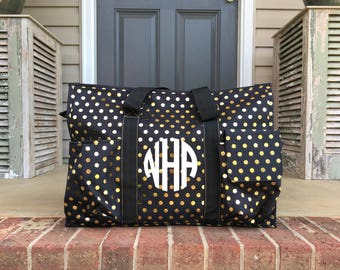 Duffle Bag, Personalized, Monogramed, Large Organizer, Over Night Bag, Over Night Tote, Diaper Bag, Vacation Bag, Carry All, Luggage