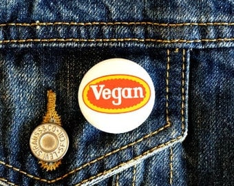 "Vegan Tyson 1.25"" Pinback Button - Vegan, Vegetarian, Animal Rights, Animal Liberation, Veganism, Activism"