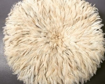Clearance -Only One Available - Off White/Cream 28x28 Modern Moonage Bohemian Decor Authentic Handcrafted African JuJu Hat