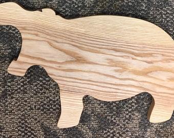 Handmade Team Fiona Hippo shaped Ash cuttingboard / cheeseboard Cincinnati Local