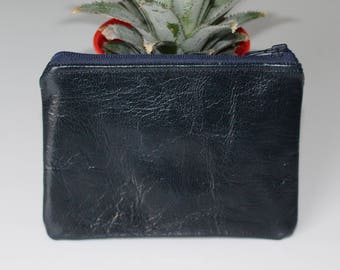 Wallet / blue leather card holder