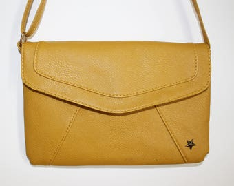 Mustard yellow faux leather clutch bag