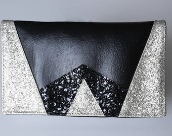 Checkbook graphic black and silver glitter