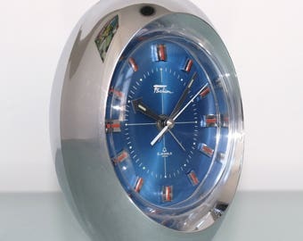 RHYTHM FASHION 1862 Chrome Top Alarm Clock Space Age BLUE Dial Mid Century