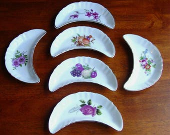 Chadwick Japan (6) Crescent Dishes, Bone Plates, Porcelain, Floral Assorted, Vintage 1950's