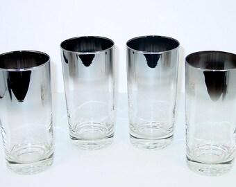 Vitreon Queen's Lusterware (4) Highball Glasses, Silver Fade, Silver Ombre MCM Retro Barware