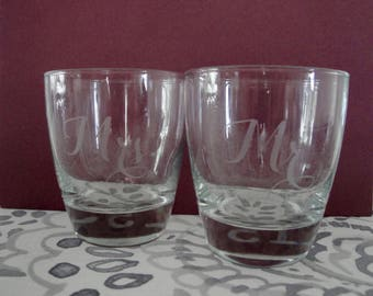 Mr. and Mrs. Etched Glasses