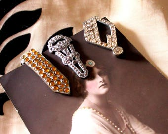 Original Vintage Art Deco 1930s 1940s Dress Clips x 3 Job Lot Paste Rhinestones Marcasite Flapper Jewellery Gatsby