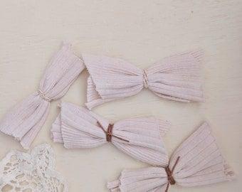 Blush Linen Raw Edge Bow Headband or Clip