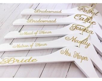 Set of 5 Wedding Hangers | Bridal Hanger Gift | Bridal Party Gift | Bridal Hanger | Custom Wedding Hangers | Bridesmaid Hanger