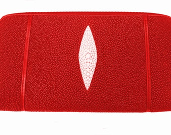 PORTFOLIO WALLET red shagreen Stingray zipper pull.