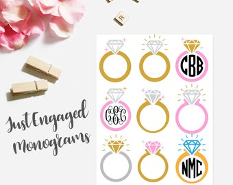 Just Engaged Monogram Sticker for Laptop Vine Mac Decal Monogrammed Decal Personalized Decal for Macbook Macbook Pro Decal Script Name Decal