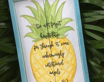 Pineapple Artwork, Large Box Frame, Vintage Aqua, Custom Scripture Quote