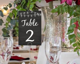 Wedding Table Number Card, Vintage String Lights, DIY Printable, Chalkboard Table No, PDF File, Instant Download, Digital Download E14C