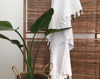 PINSTRIPE LIGHT GREY Large Turkish towel  white and grey 100% pre washed cotton throw baby blanket
