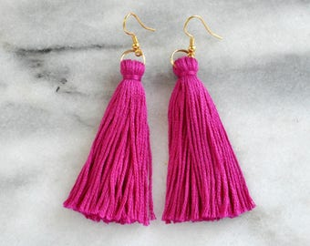 Magenta Tassel Earrings, Tassel Earrings, Dangle Earrings, Bohemian Earrings, Long Tassel Earrings, Bridesmaid Gift, Purple Pink Tassel