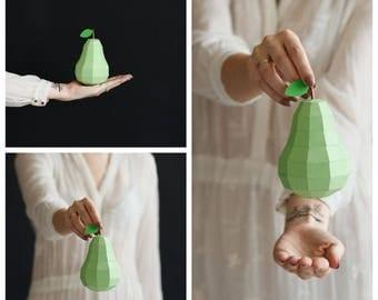 Fruits: Lemon, Orange, Pear (Origami lemon, Paper orange, Citrus sculpture, papercraft, lowpoly, DIY template, PDF)