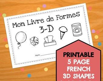 My 3D Shapes Booklet Printable - Mon Livre de Formes 3D / French Immersion / Kindergarten / Geometry / Home School / Education Resource