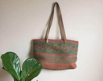 vintage jute bag, jute tote, market tote