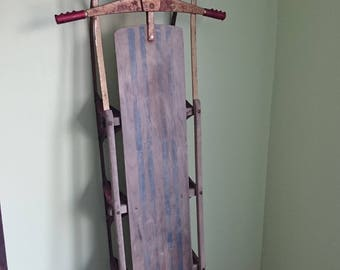 """HUGE 64"""" Vintage Snow Sled, Retro 1950' Sleigh With Handles, Steering Steer Sled, 3 or 4 Person Sled, Extra Large Sled"""
