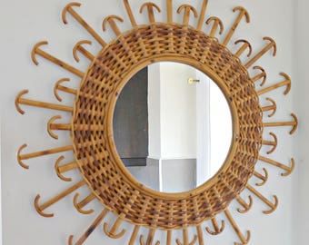Sunburst mirror, large French vintage rattan mirror. Mid century home decor, wall hanging mirror-Nautical Mirror -Style Junki