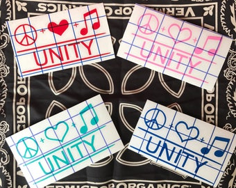 Peace Love Music Unity decal / sticker