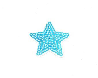Aufnäher/Bügelbild-Stern mit Pailletten – Blau – 3.2 x 3.5 cm-by catch-the-Patch ® patch Aufbügler Applikationen zum Aufbügeln Applikation Patches Flicken