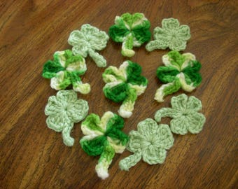 Crocheted Four Leaf Clovers, Shamrocks, Five Variegated and Five Light Green, St. Patrick's Day Decoartion
