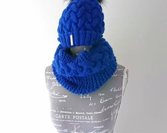 Winter Cable Knit Hat/Beanie and Cowl/Neck Warmer Set with Faux Fur Pompom