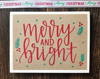 Set of 5 Merry and Bright Holiday Cards with Embossed Lettering - Rustic Calligraphy Greeting Cards