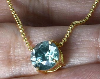 2ct Blue Diamond Pendant in 14kt Gold, AAA.Certified. Gift for wife, Wedding gift, Anniversary Gift