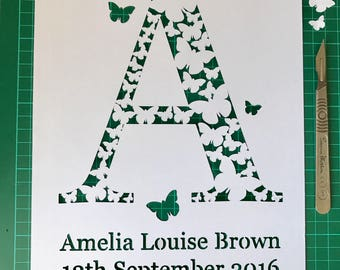 Papercut TEMPLATE - Personalised butterfly initial paper cutting template - pdf / jpeg / svg