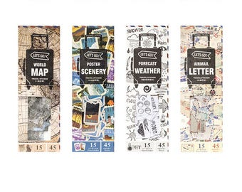 Let's Go Travel Series Stickers Set #2 - Map, Scenery, Weather, Letter, Planner, Journal, Craft, Scrapbooking, Decoration