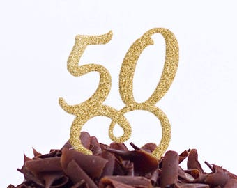 50 Birthday Party Cake Topper - Fifty Cake Topper - 50th Cake Topper - Fiftieth Cake Topper - 50 Decoration - Same Day World Wide Dispatch