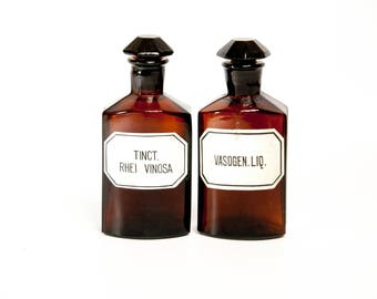 Antique european apothecary bottles set, medicine bottles, old bottles, pharmacy bottles vintage bottles apothecary jars amber glass bottles