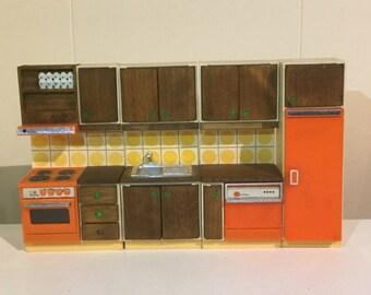 Mid Century Modern Dollhouse Kitchen by Lundy of Sweden / Retro Dollhouse Kitchen in Orange