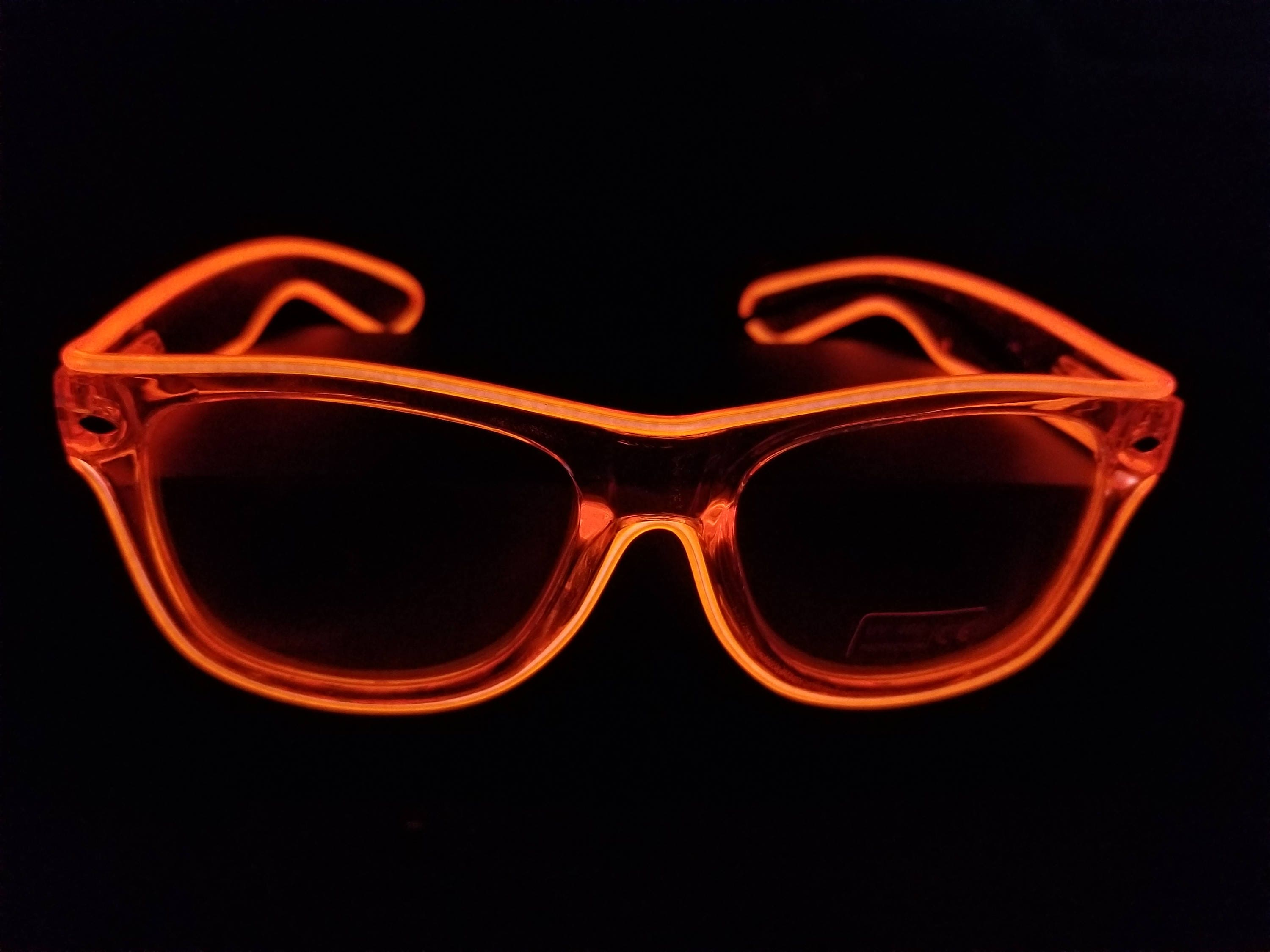 Rayban style CLEAR Light-Up Glasses,EL Wire,Neon,Glow,Rave ...