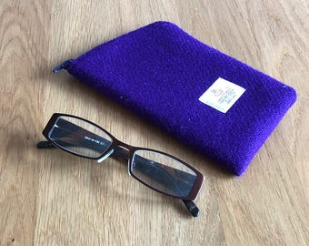 Purple glasses case - Harris Tweed eyeglass case - spectacles case - sunglasses case - wool Anniversary - purple gift for her - gift for mum