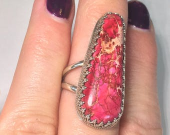 Long pink variscite handmade solid sterling silver ring 6