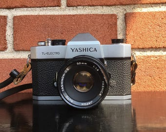 Vintage YASHICA TL-Electro 35mm SLR Film Camera with 50mm Lens Photography Gift