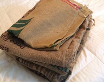 Burlap coffee bag, set of 5 bags, burlap sack, craft fabric, jute fabric, used burlap sack