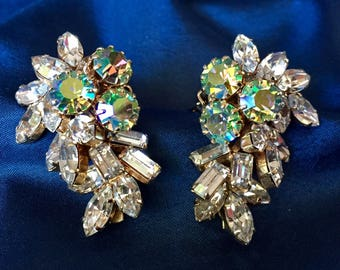 Vintage Austrian Aurora Borealis and Clear Crystal Rhinestone Clip Earrings, Vintage Austrian Crystal Climber Earrings
