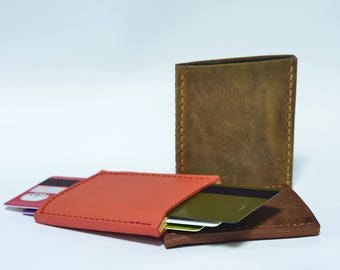 Extra slim leather card holder, thin wallet, italian leather minimalist card case, tight pants friendly , easy to tuck and pocket friendly