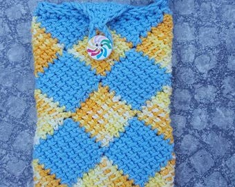 Case for smartphone, blue and yellow sock