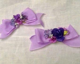 Lolita Purple Flower Hair Bow Pins