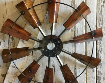 Wall Windmill, Rustic, Industrial, Recycled Metal Wall Windmill, 24""