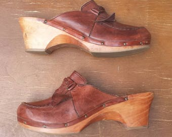 1990's Rapallo leather and wood clogs - Size 10B - cherry brown